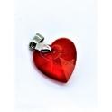Pendente Aço Inox Coração Cristal Vermelho - Prateado (18mm)