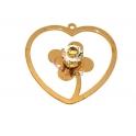 Pendente Latão AQ Coração Flor 1 Brilho - Dourado (35mm)