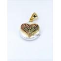 Pendente Madrepérola Coração Sobreposto Brilhantes Multicor - Dourado (15mm)