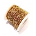 Rolo de Corrente Aço Inox Bolinha (2mm) - Dourado [15metros]