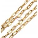 Corrente Aço Inox Elo Oval Liso (12x6) - Dourado [97cm]