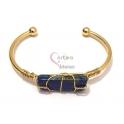 Pulseira Aço Inox Cuff Pedra Lapis Lazuli - Dourada