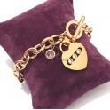 Pulseira Aço Inox Fecho T Coração 3 Brilhantes - Dourada Rosa