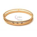 Pulseira Aço Inox 3 Brilhantes Queen - Dourado