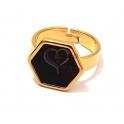 Anel Aço Inox Ajustável Black Edition [Hexagono] - Dourado
