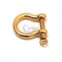 Fecho Aço Inox Ferradura com Parafuso - Dourado (25mm)