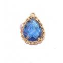 Pendente Latão AQ Trabalhado Lagrima Cristal Azul Petroleo - Dourado (20x14mm)