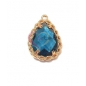 Pendente Latão AQ Trabalhado Lagrima Cristal Azul Escuro - Dourado (20x14mm)