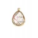 Pendente Latão AQ Lagrima Cristal Transparente - Dourado (21x13mm)