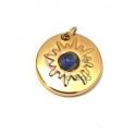 Pendente Aço Inox Efeito Sol Olho Gato Azul - Dourado (15mm)