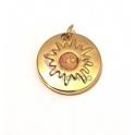 Pendente Aço Inox Efeito Sol Olho Gato Rosa - Dourado (15mm)