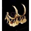 Brincos Aço Inox Argolas com Medalhinhas - Dourado