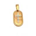 Pendente Aço Inox Oval com Cruz Brilhantes - Dourado (26x14mm)