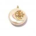 Pendente Madrepérola Irregular Lua e Estrela Sobreposta Brilhantes Cristal - Dourado (20mm)