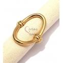 Anel Aço Inox Aro Oval - Dourado