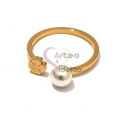 Anel Aço Inox Curly Pearl Trevo - Dourado
