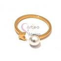 Anel Aço Inox Curly Pearl Borboleta - Dourado