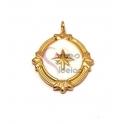 Pendente Aço Inox Estrela em Fundo Branco - Dourado (23x17mm)