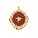 Pendente Aço Inox Estrela em Fundo Bordeaux - Dourado (23x17mm)