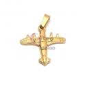 Pendente Aço Inox Avião 3D - Dourado (23x24mm)