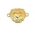 Conector Aço Inox Coração Romantic - Dourado (20x14mm)