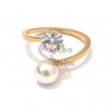 Anel Aço Inox Curly Pearl Brilhante - Dourado