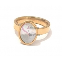 Anel Aço Inox Oval Madrepérola - Dourado