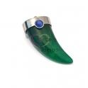 Pendente Aço Inox Dente Verde com Azul - Prateado (30x15mm)