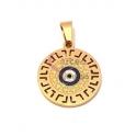 Pendente Aço Inox Olho Grego Redondo - Dourado (20mm)