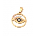 Pendente Aço Inox Olho Grego Redondo Recortado - Dourado (20mm)
