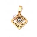 Pendente Aço Inox Olho Grego Losângulo - Dourado (20mm)