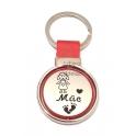 Porta-Chaves Aço Inox Redondo com Cabedal Vermelho [Mãe-Menina]
