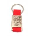 Porta-Chaves Aço Inox Redondo com Fita Vermelha [A Melhor Educadora do Mundo]