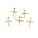 Conjunto Pendentes Aço Inox Cruz Ponta Pingo - Dourado (15x10mm) - [5unds]
