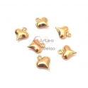 Conjunto Pendentes Aço Inox Coração 3D - Dourado (11x9mm) - [6unds]