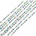 Corrente Aço Inox Missanga Japonesa [Tons Azuis] - Prateado [97cm]