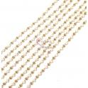 Corrente Aço Inox Bolinhas e Mini Cristais Brancos - Dourado [97cm]