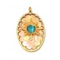 Pendente Aço Inox Oval Madreperola Cor Estrela Pedra Azul Clara - Dourado (34x19mm)