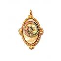 Pendente Aço Inox Oval Madreperola Cor com Circulo com Flor Zircónias Cores - Dourado (35x20mm)