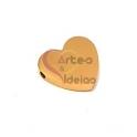 Conta Aço Inox Coração com Madrepérola - Dourado (1.5mm)