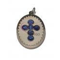 Pendente Aço Inox Oval Madreperola Cruz Olho Gato Azul Escuro - Prateado (25x17mm)