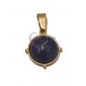Pendente Aço Inox Redondo Pedra Lapis Lazuli - Dourado (16mm)