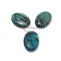 Pedra Semi-Preciosa Ovalada Azul Turquesa Raiada (18x13)