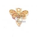 Pendente Latão AQ Abelha com Cristal - Dourado (15mm)