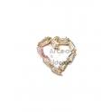 Pendente Latão AQ Coração Brilhantes - Dourado (13mm)