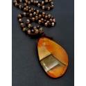 Colar Pedra Raiada com Cristais e Pedras Semi-Preciosas