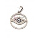 Pendente Aço Inox Olho Grego Redondo Recortado - Prateado (20mm)