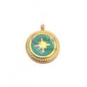 Pendente Aço Inox Estrela em Fundo Turquesa Redondo - Dourado (15mm)