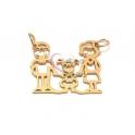 Conector Aço Inox Recorte Família [Pai, Menina e Mãe] - Dourado (20x26mm)