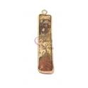 Pendente Pedra Semi-Preciosa Rectangulo Jasper - Dourado (40x10mm)